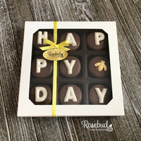 """HAPPY (BEE) DAY"" - Chocolate Covered Oreo Cookies BUMBLE BEE - 9 Piece White Gift Box HAPPY BIRTHDAY"