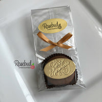"12 ""HAPPY ANNIVERSARY"" Gold Dusted Chocolate Oreo Cookie Candy Party Favors"