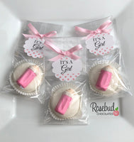 "12 BABY BOTTLE Chocolate Covered Oreo Cookie Party Favors ""It's A Girl"" Personalized Tag"