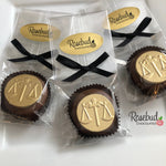 12 SCALES OF JUSTICE Chocolate Covered Oreo Cookie Candy Party Favors