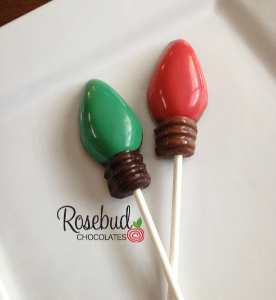 12 Christmas LIGHT BULB Chocolate Lollipop Candy Winter Holiday Party Favors