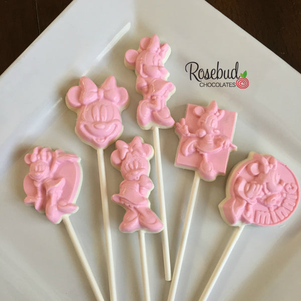 12 MINNIE MOUSE Assorted Chocolate Lollipop Candy Party Favors