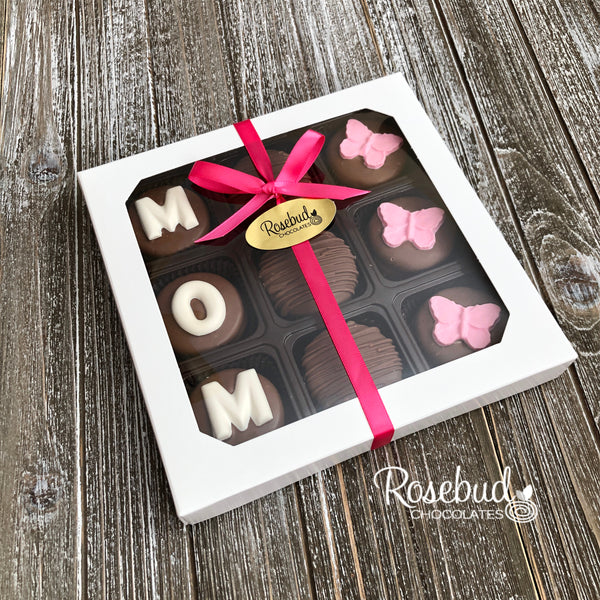 """MOM"" - 9 Piece Chocolate Covered Oreo Cookies BUTTERFLY - White Gift Box Mother's Day"