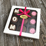"""MOM"" - Chocolate Covered Oreo Cookies ROSES - 9 Piece White Gift Box Mother's Day"