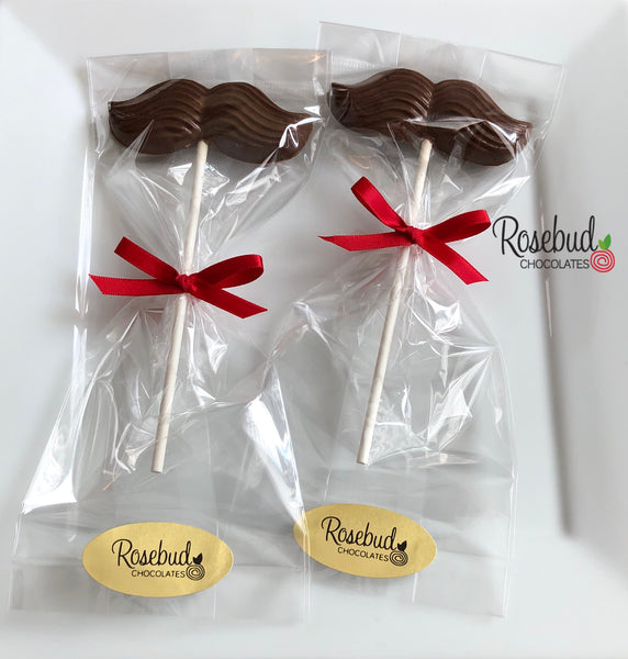 12 MUSTACHE Chocolate Lollipop Candy Birthday Party Favors