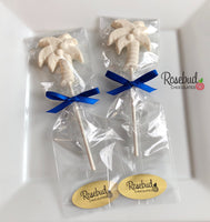 12 PALM TREE Chocolate Lollipops Candy Party Favors