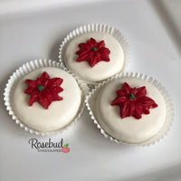12 POINSETTIA White Chocolate Covered Oreo Cookie Candy Christmas Holiday Party Favors