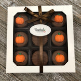 9 Piece White Gift Box Chocolate Covered Oreo Cookies PUMPKIN