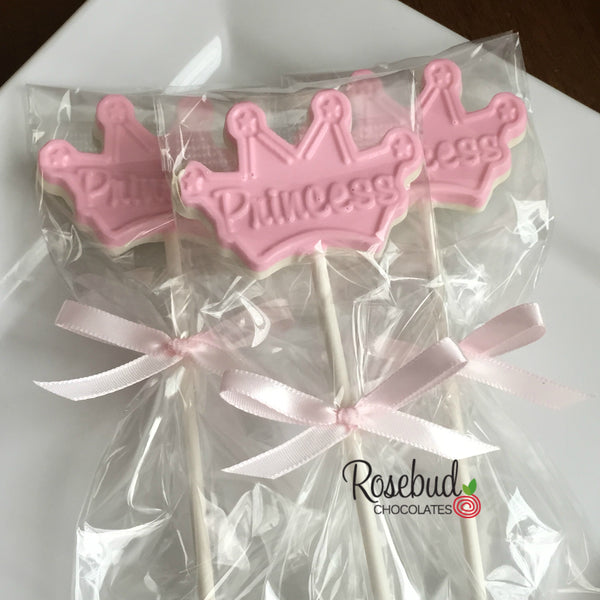 "12 ""Princess"" TIARA Chocolate Lollipop Candy Party Favors"