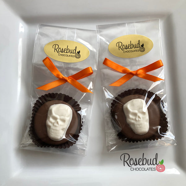 12 SKULL Chocolate Covered Oreo Cookie Halloween Party Favors