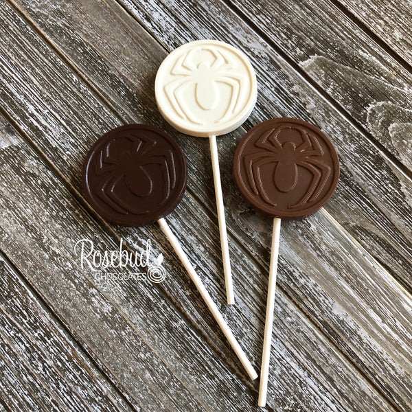12 SPIDER Chocolate Lollipop Candy Party Favors
