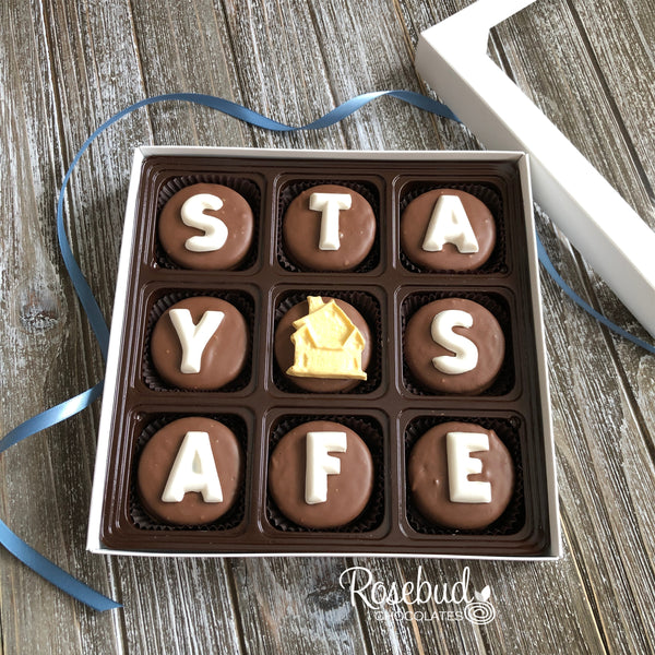"""STAY SAFE"" - 9 Piece Chocolate Covered Oreo Cookies HOUSE - White Gift Box"