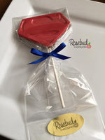 10 SUPERMAN Chocolate Lollipop Candy Party Favors