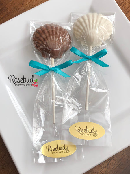 12 SEASHELL Chocolate Lollipops Candy Party Favors Nautical Beach Theme