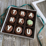 """THANK YOU"" - 9 Piece Chocolate Covered Oreo Cookies SUCCULENT - White Gift Box"