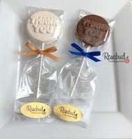 12 THANK YOU Chocolate Lollipop Candy Party Favors