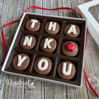 """THANK YOU"" - 9 Piece Chocolate Covered Oreo Cookies APPLE - White Gift Box"
