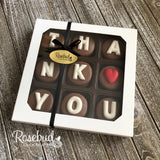 """THANK YOU"" - Chocolate Covered Oreo Cookies HEART - 9 Piece White Gift Box"