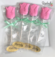 12 TULIP Chocolate Lollipop Candy Flowers Party Favors
