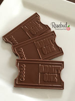 12 ADMIT ONE TICKET Chocolate Candy Birthday Party Favors