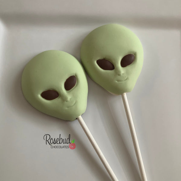 12 ALIENS Chocolate Lollipop Candy Party Favors Outer Space Theme Birthday