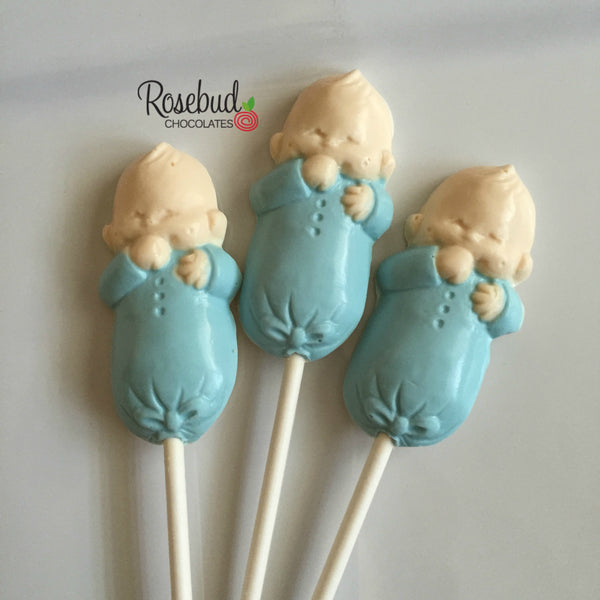 12 BABY INFANT Chocolate Lollipops Candy Boy Girl Baby Shower Party Favors