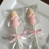 12 BABY INFANT Chocolate Lollipops Candy Party Boy Girl Shower Favors