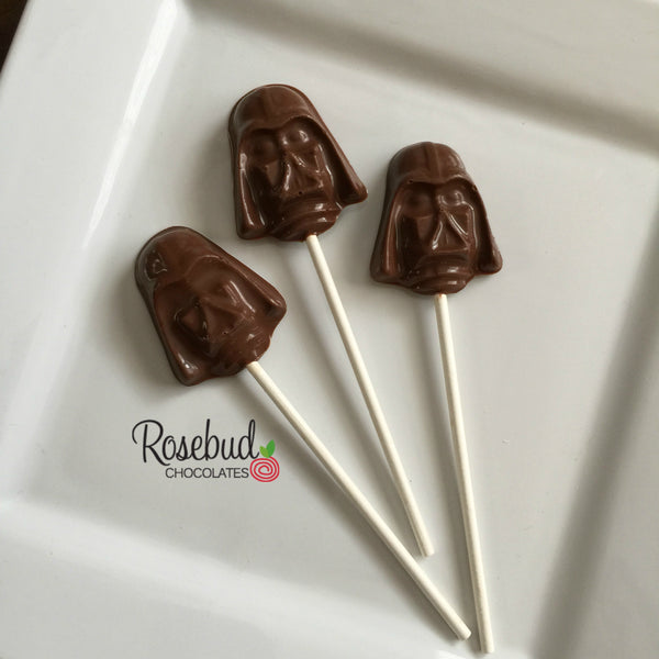 12 DARTH VADER Star Wars Milk Chocolate Lollipop Candy Party Favors