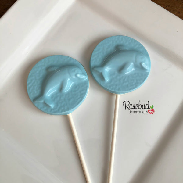 12 DOLPHIN Chocolate Lollipop Candy Party Favors