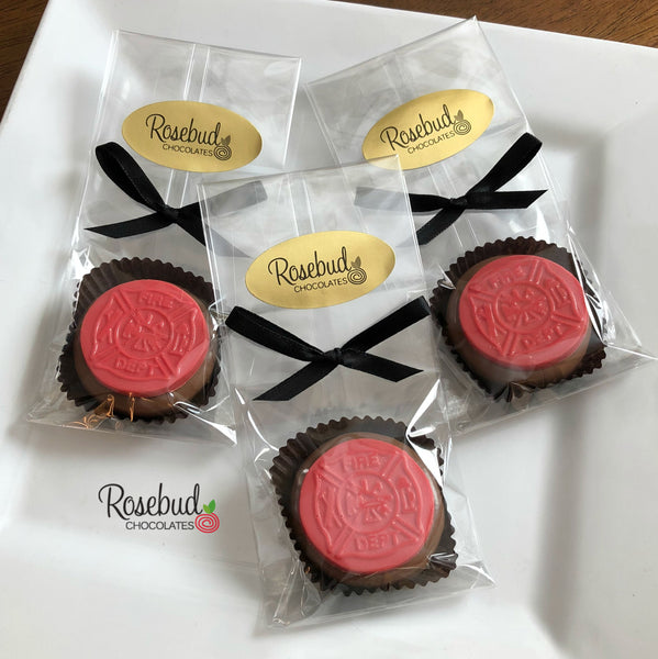 12 FIRE DEPT Chocolate Covered Oreo Cookie Candy Party Favors