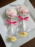 10 FLAMINGO Chocolate Lollipops Candy Animal Party Favors