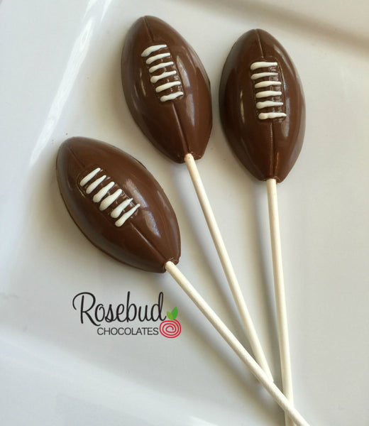 12 FOOTBALL Chocolate Lollipop Candy Sports Birthday Party Favors