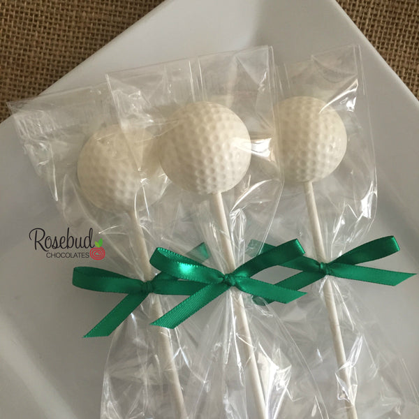 12 GOLF BALL Chocolate Lollipop Candy Sports Party Favors