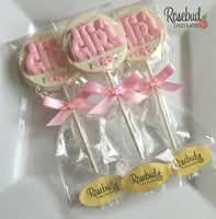 "10 ""It's A Girl"" Chocolate Lollipops Candy Baby Shower Party Favors"