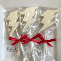 12 LIGHTNING BOLT Chocolate Lollipops Candy Birthday Party Favors