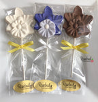 12 ORCHID Chocolate Lollipops Candy Flowers Party Favors