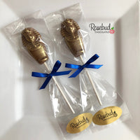 12 PHARAOH Chocolate Gold Dusted Lollipop Candy Party Favors Egyptian Theme Birthday