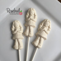12 PRAYING GIRL Chocolate Lollipop Religious Candy Party Favors