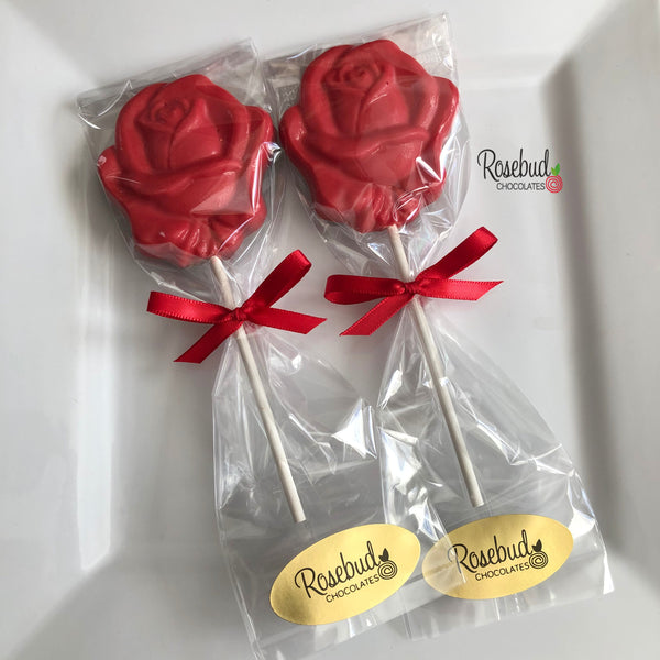 10 ROSE Bloom Chocolate Lollipop Flowers Wedding Birthday Party Favors