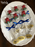 12 RED ROSE with Green Leaves Chocolate Lollipop Candy Party Favors