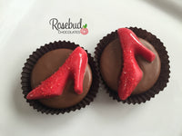 12 RED RUBY SLIPPERS Chocolate Covered Oreo Cookie Red HIGH HEEL Candy Party Favors