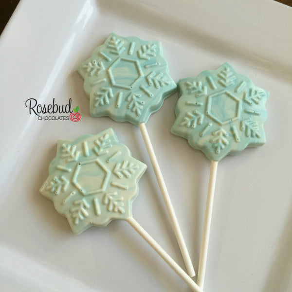 12 SNOWFLAKE Chocolate Lollipop Holiday Candy Birthday Party Favors