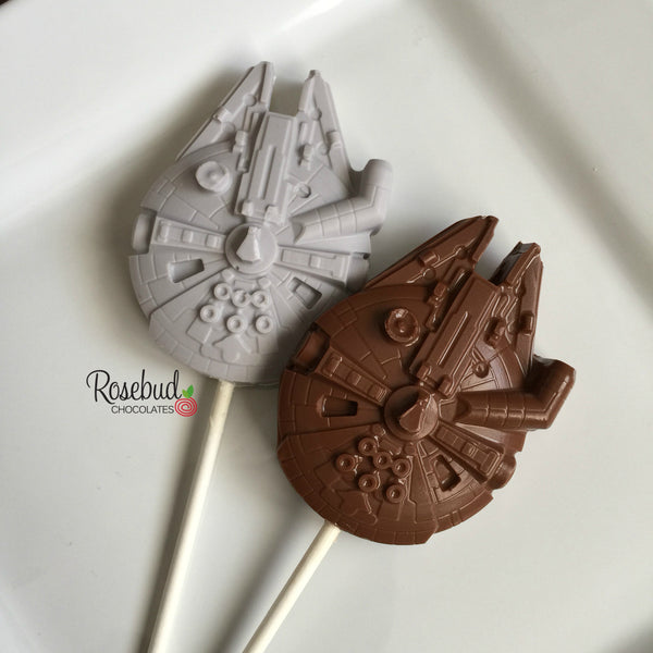 10 Millennium Falcon Chocolate Lollipop Candy Party Favors