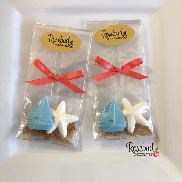 12 SAILBOAT & STARFISH Chocolate Nautical Beach Theme Birthday Wedding Candy Party Favors