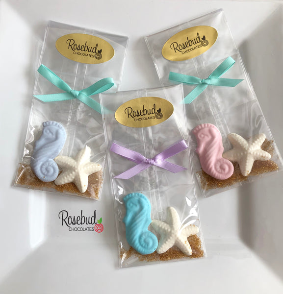 12 SEAHORSE & STARFISH Chocolate Nautical Beach Theme Birthday Wedding Candy Party Favors