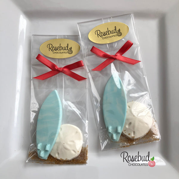 12 SURFBOARD & SAND DOLLAR Chocolate Candy Party Favors