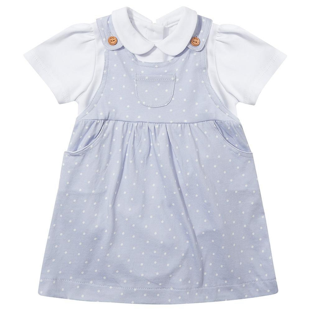 Diddy Dotty Dungarees Peter Pan Collar Vest
