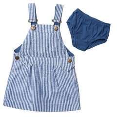Dotty Dungarees - Blue Seersucker Dress