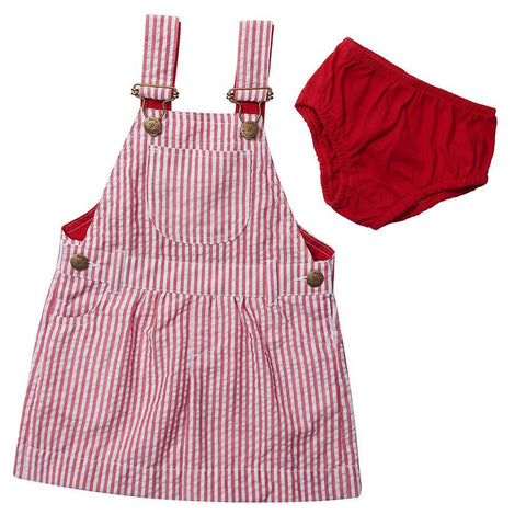 Dotty Dungarees - Red Seersucker Dress