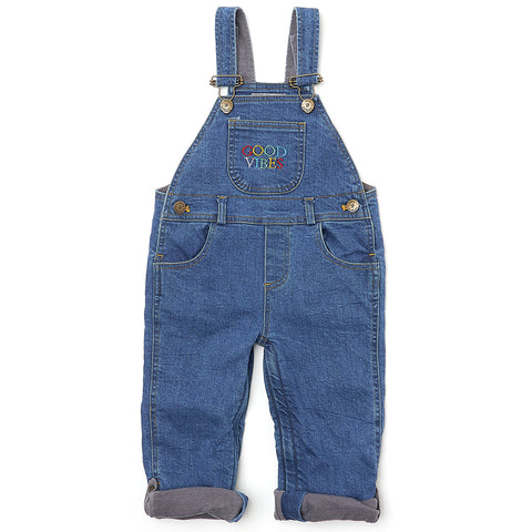 Stonewash Denim GOOD VIBES Dungarees